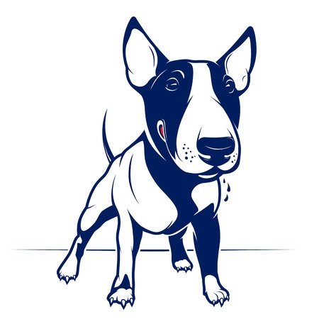 angry dog: Cartoon Style English Bull Terrier