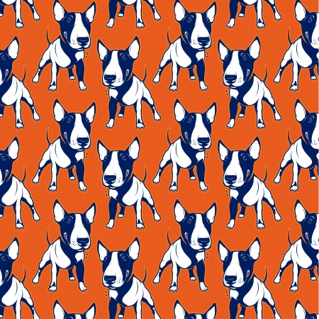 Cartoon Bull Terrier background pattern Vector
