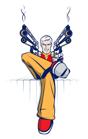 gangster with gun: Caricatura g�ngster con armas humeantes Vectores