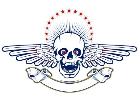 skull with wings and ribbon  Vector