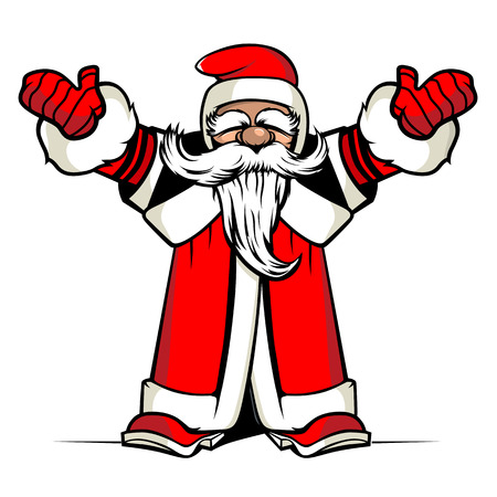 white bacjground: Santa hands up. Vector illustration