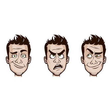 thoughtfulness: Man Emotions Set  100  Editable Vector Illustration