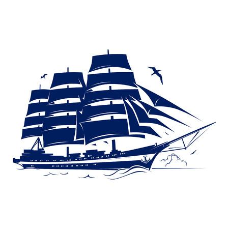 caravelle: Voile navire Vector Illustration