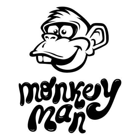 gazing: Monkey Cartoon Face with the cool style text  Vector Illustration