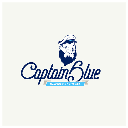fisher: captain character with a lettering. eps 8 fully editable vector illustration Illustration