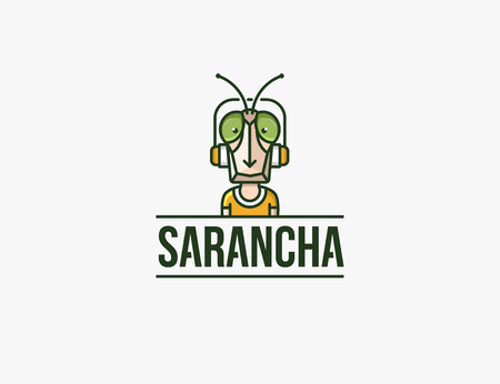 insect flies: Insect mascot. Headphones character. locust man.