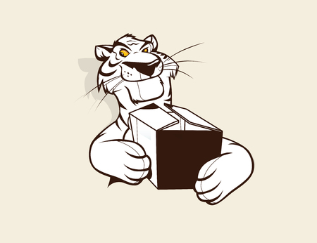 sneaking: Tiger mascot holding a box. Animal character.