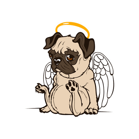 baby angel: Pug Puppy Angel.