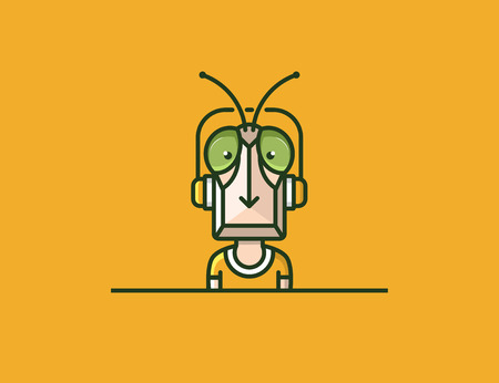 mosca caricatura: mascota de insectos. carácter auriculares.