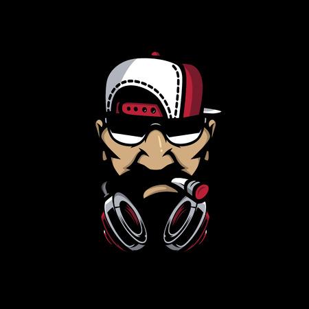 Urban HipHop smoking character in cartoon vetor style