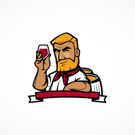 winemaking: A wine maker holding a glass of wine inspecting from barrel. A contemporary cartoon style. Vector fully editable illustration.