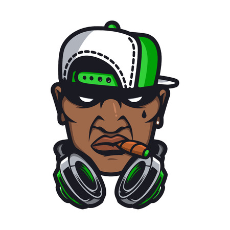 Urban HipHop smoking character in cartoon vector style