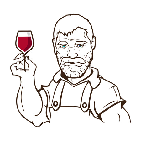 A wine maker holding a glass of wine inspecting from barrel. A contemporary cartoon style. Vector fully editable illustration.