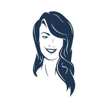 Brunette hair woman face smiling. Fully Editable Vector Illustration