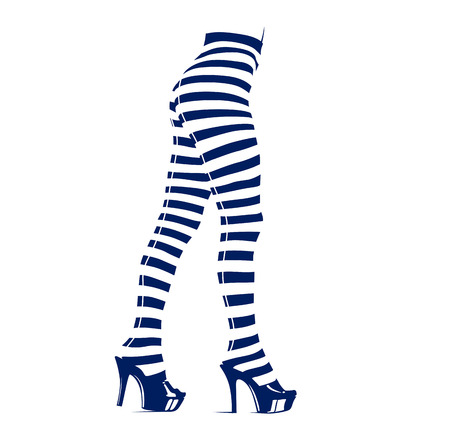 Woman in leggings with stripes. Vector Illustration