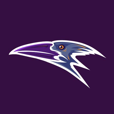 Crow Head Mascot. Vector illustration. Stock Illustratie