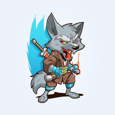 Ninja Wolf Mascot with nunchaks and sword. Fully editable vector illustration. EPS 10 Vektorové ilustrace