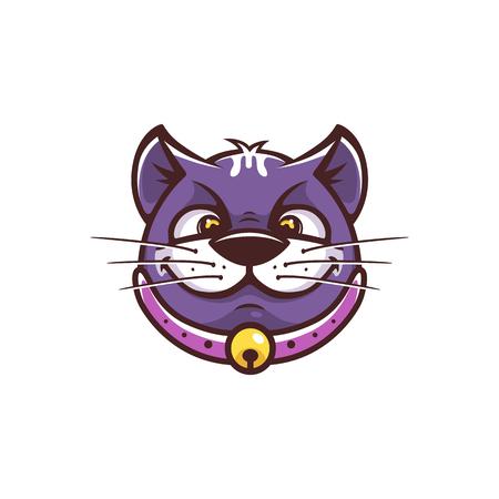 Cat funny face in cartoon style. Fully editable vector illustration.