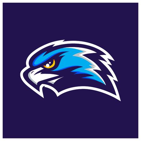 Hawk Head Mascot. Dark background. Vecor illustration. Illustration