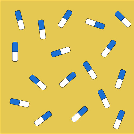 white pills: Yellow background with blue and white pills Illustration