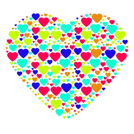 composed: Big multi-color heart composed from small hearts