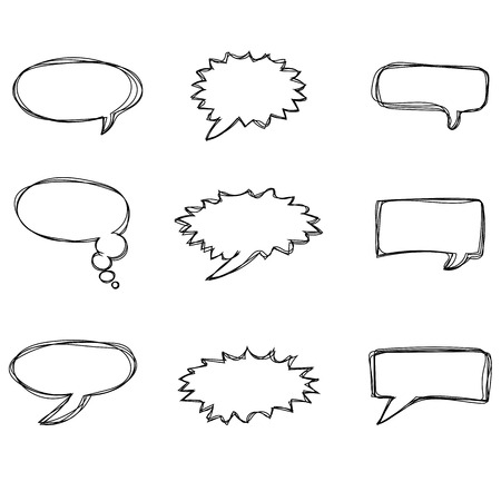 Nine different speech bubbles isolated on the white background Vector