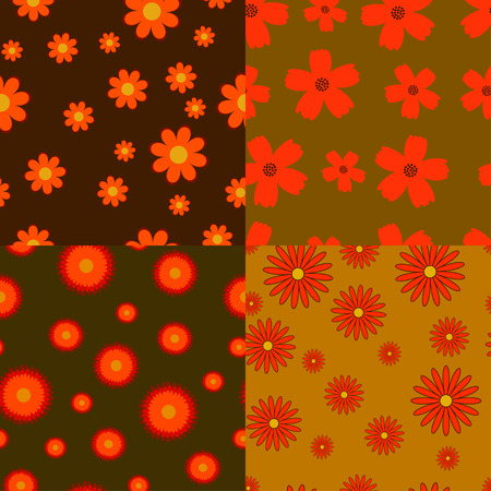 autumn flowers: Collection of four autumn flowers seamless textures