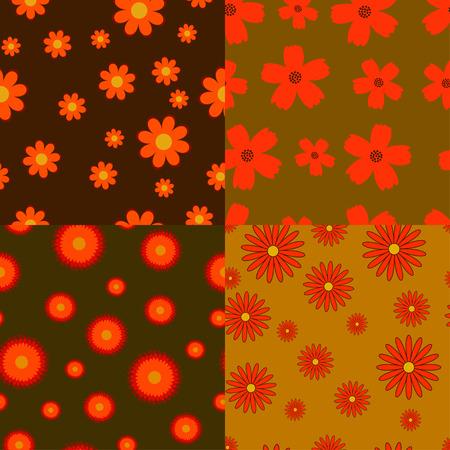 herbstblumen: Sammlung von vier Herbstblumen nahtlose Texturen