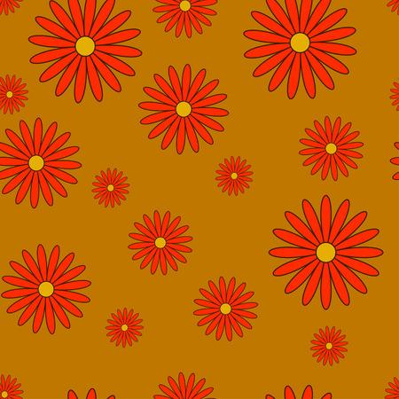 herbstblumen: Herbstblumen nahtlose Textur in orange und roten Farben