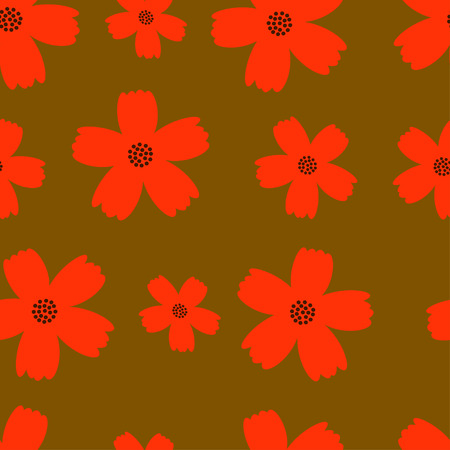 autumn flowers: Autumn flowers seamless texture in orange and red colors