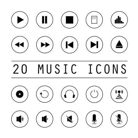 loudness: Music icons set of twenty black buttons on white background Illustration