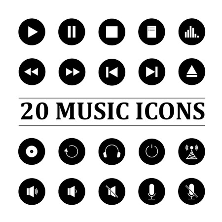 quieter: Music icons set of twenty black buttons on white background Illustration