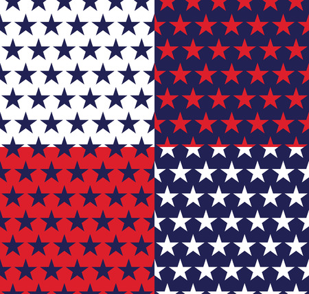 four pattern: Four seamless pattern with stars in American flag colors