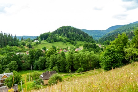 Small village in the foothills of Carpathian mountains