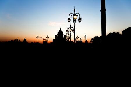 savior: Evening silhouette Christ the Savior Cathedral and lights Stock Photo