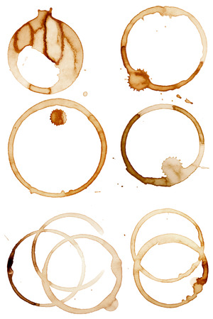 coffee spill: Coffee Stain Rings Set of six Vector illustrations Illustration