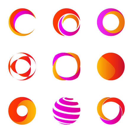 Set of Business Abstract Colorful Circle logo icons
