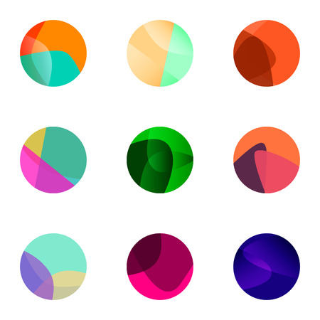 abstract rose: Colorful ball vector logo set in creative transparent color Illustration