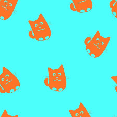 babyish: Cute little cartoon drawn cats seamless patterm