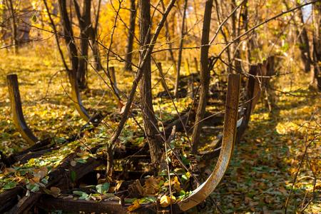 bobsled: Abandoned broken bobsled slide in the autumn forest