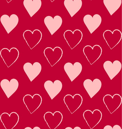 seamless pattern with hand drawn hearts
