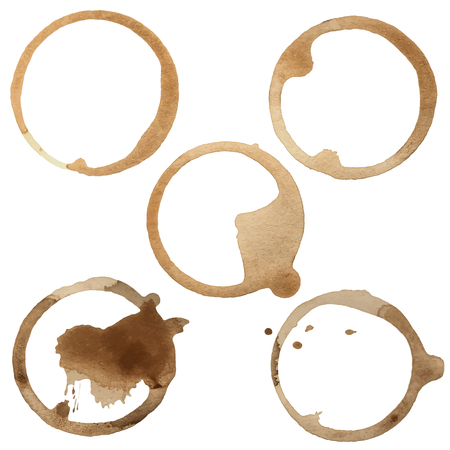Coffee Stain Rings Set of five Vector illustration