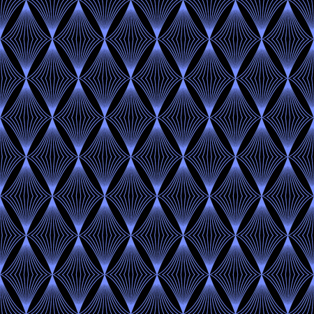 cian: The geometric wave pattern. Seamless vector background, black and blue Illustration