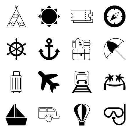 Set di icone di viaggio e trasporto, elementi di design in bianco e nero