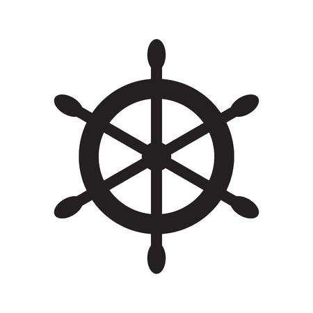 caribbean cruise: Ships wheel symbol. Vector illustration in flat style