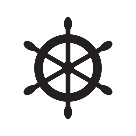 Ships wheel symbol. Vector illustration in flat style