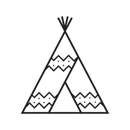 キャンプ テント ベクトルの線形のアイコン。ティーピー シンボル  イラスト・ベクター素材