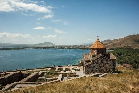 Ancient and beautiful Sevanavank monastery in Armenia near lake Sevan