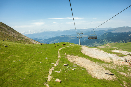 Cableway and cable car in mountains, Adjara, Georgia Stock Photo