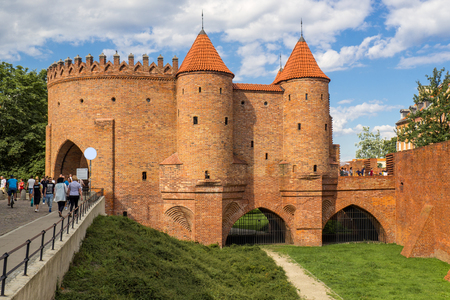 Warsaw, Poland - July, 2017: Warsaw Barbican defensive fortress of the city Editorial